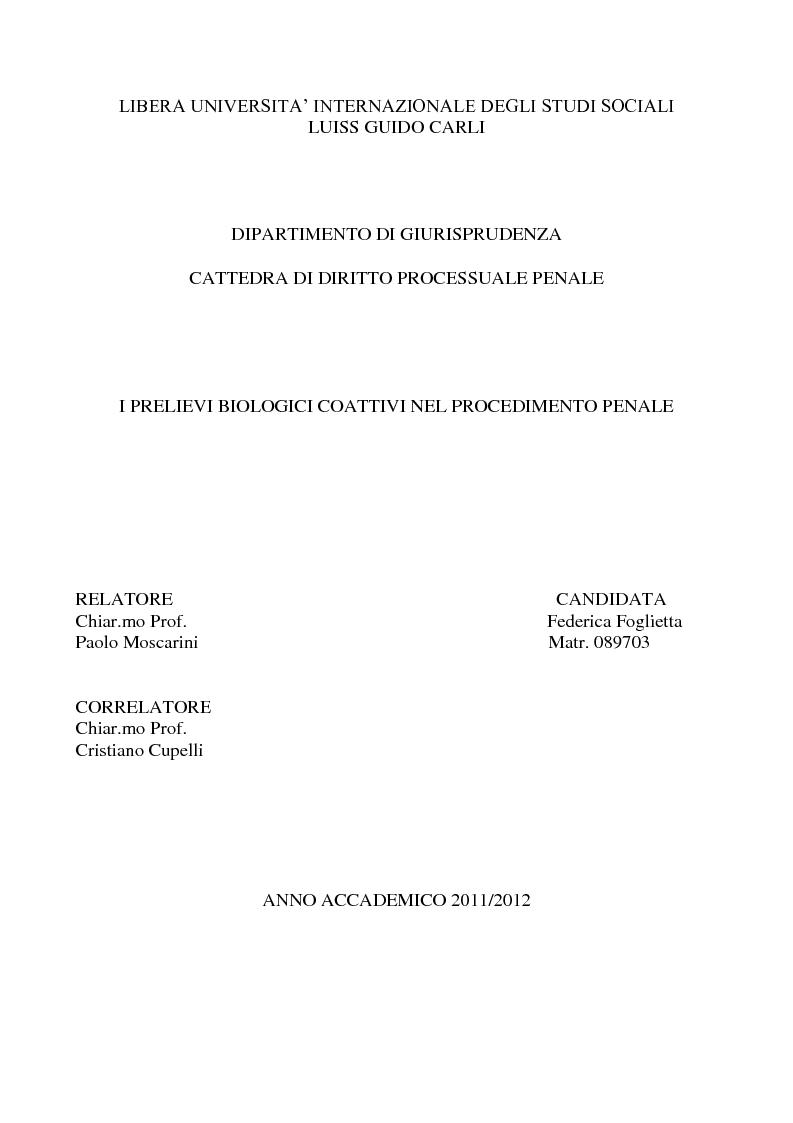 Anteprima della tesi: I prelievi biologici coattivi nel procedimento penale , Pagina 1