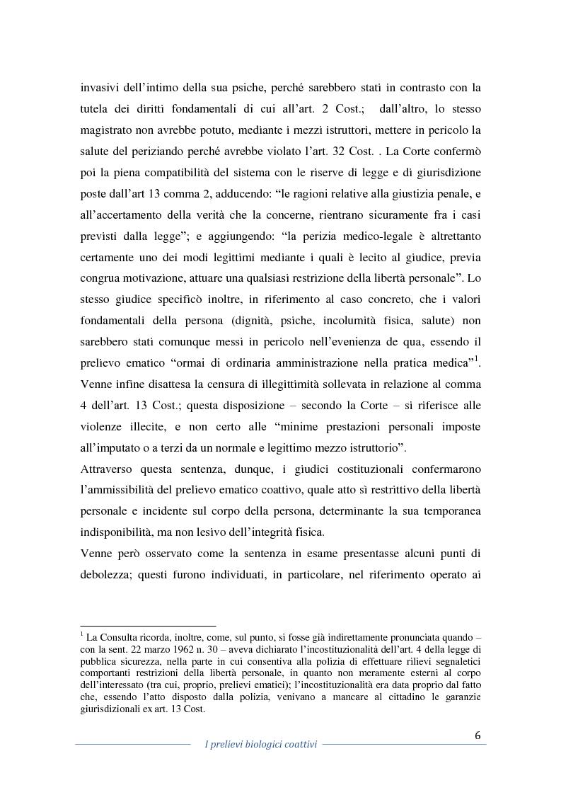 Anteprima della tesi: I prelievi biologici coattivi nel procedimento penale , Pagina 4