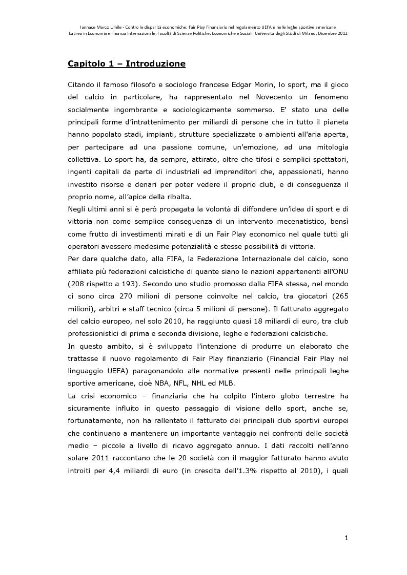 Anteprima della tesi: Contro le disparità economiche: Fair Play Finanziario nel regolamento UEFA e nelle leghe sportive americane, Pagina 2