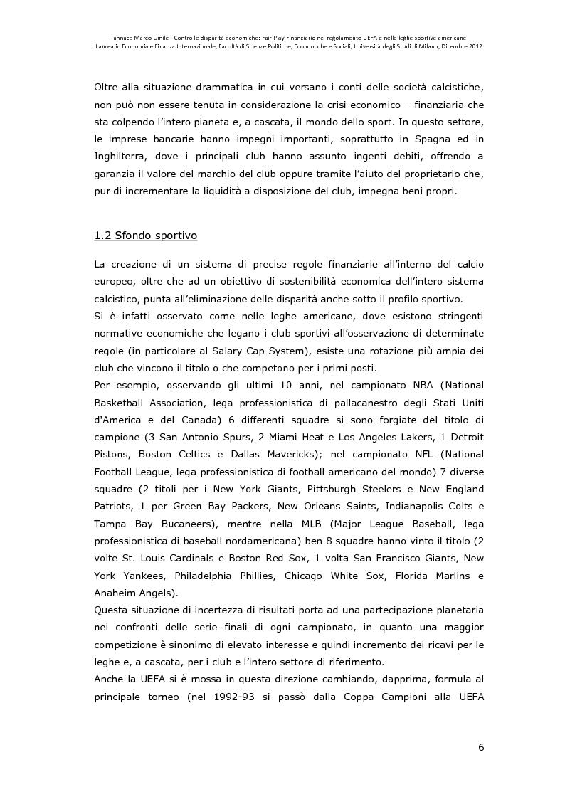 Anteprima della tesi: Contro le disparità economiche: Fair Play Finanziario nel regolamento UEFA e nelle leghe sportive americane, Pagina 7
