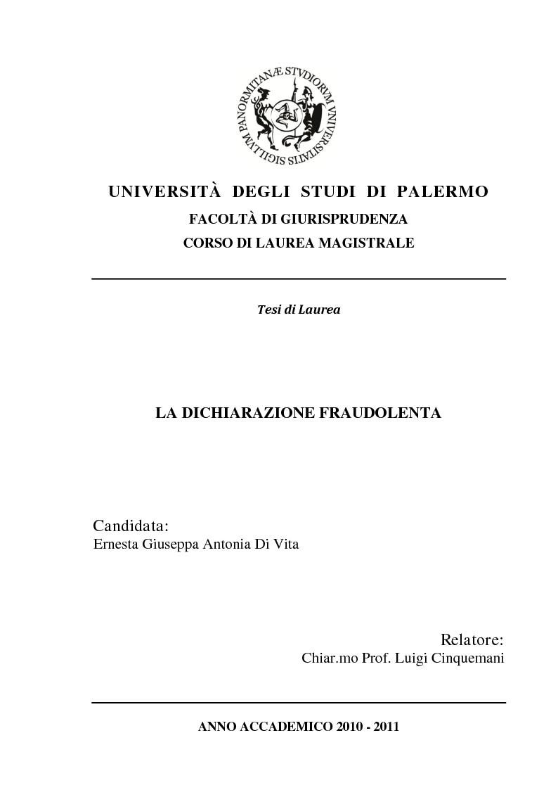 Anteprima della tesi: La dichiarazione fraudolenta, Pagina 1