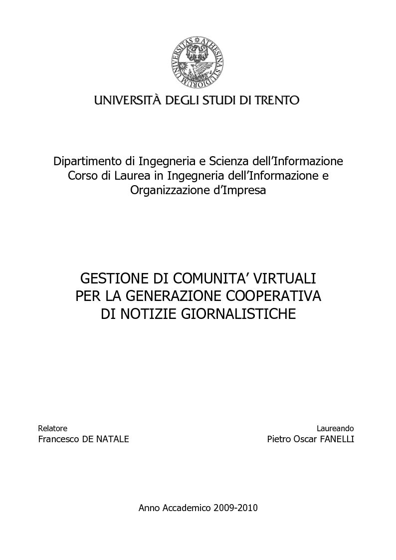 Anteprima della tesi: Gestione di comunità virtuali per la generazione cooperativa di notizie giornalistiche, Pagina 1