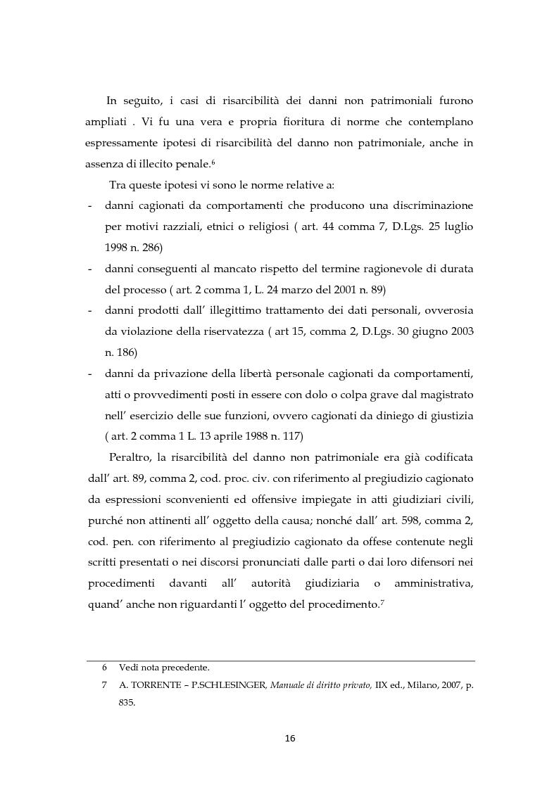 Anteprima della tesi: Il risarcimento del danno non patrimoniale con pregiudizi esistenziali, Pagina 10