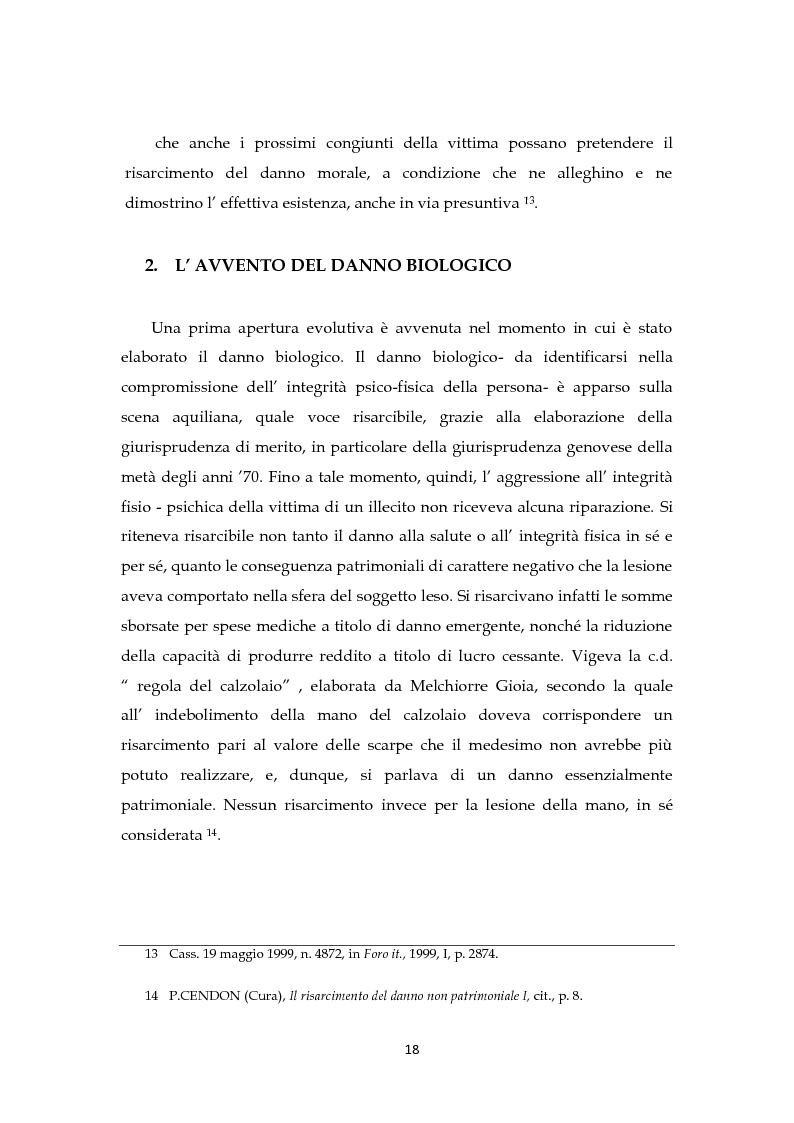Anteprima della tesi: Il risarcimento del danno non patrimoniale con pregiudizi esistenziali, Pagina 12