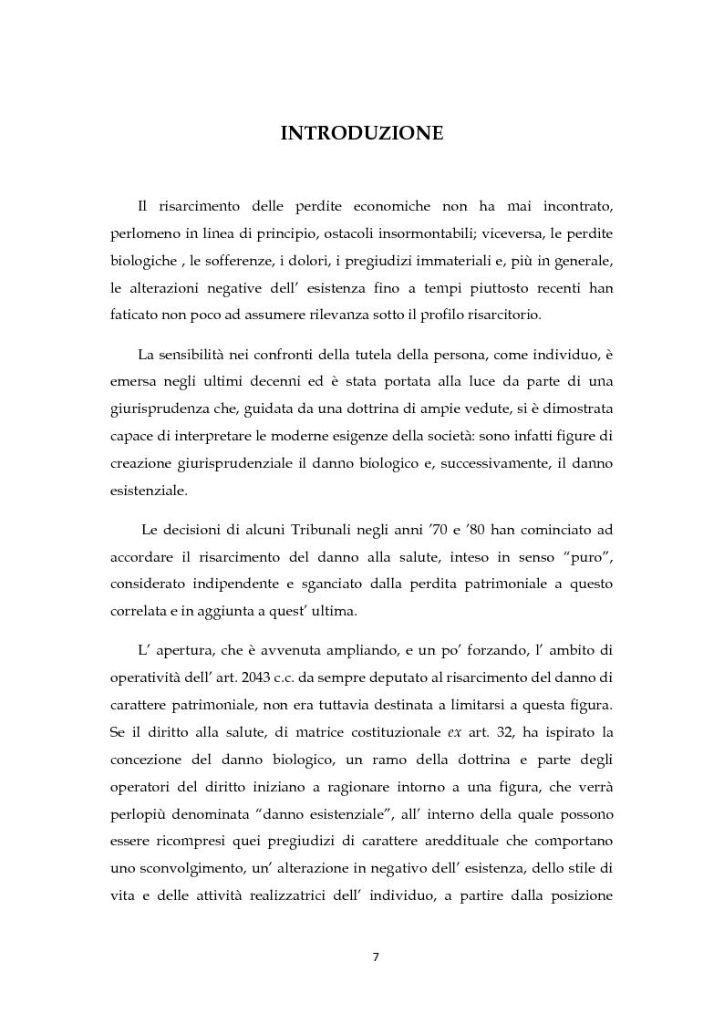 Anteprima della tesi: Il risarcimento del danno non patrimoniale con pregiudizi esistenziali, Pagina 2