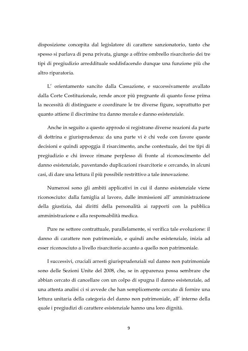 Anteprima della tesi: Il risarcimento del danno non patrimoniale con pregiudizi esistenziali, Pagina 4