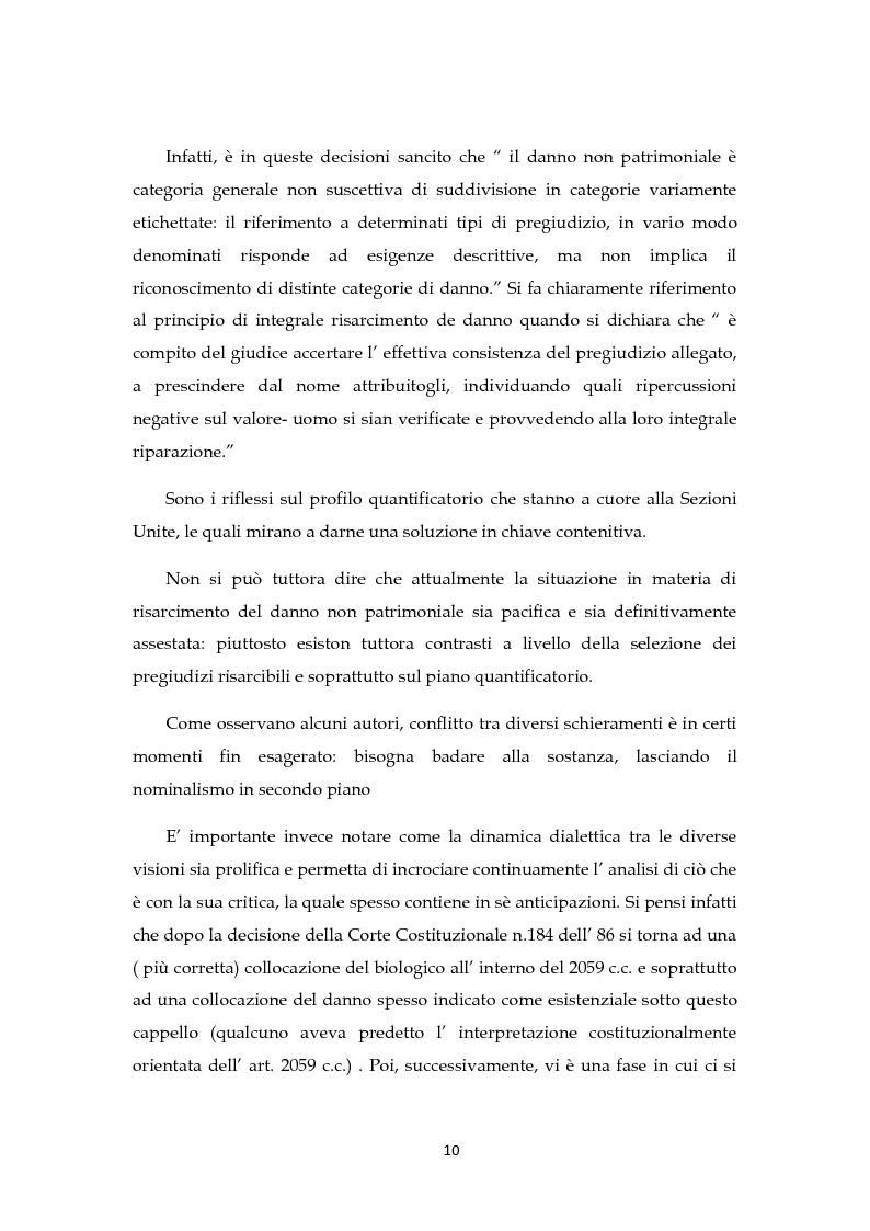 Anteprima della tesi: Il risarcimento del danno non patrimoniale con pregiudizi esistenziali, Pagina 5