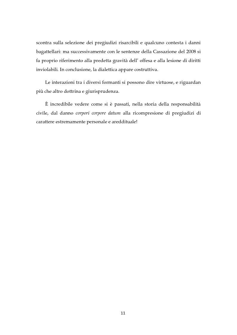 Anteprima della tesi: Il risarcimento del danno non patrimoniale con pregiudizi esistenziali, Pagina 6