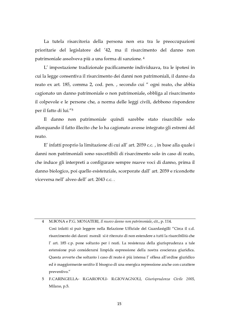 Anteprima della tesi: Il risarcimento del danno non patrimoniale con pregiudizi esistenziali, Pagina 9