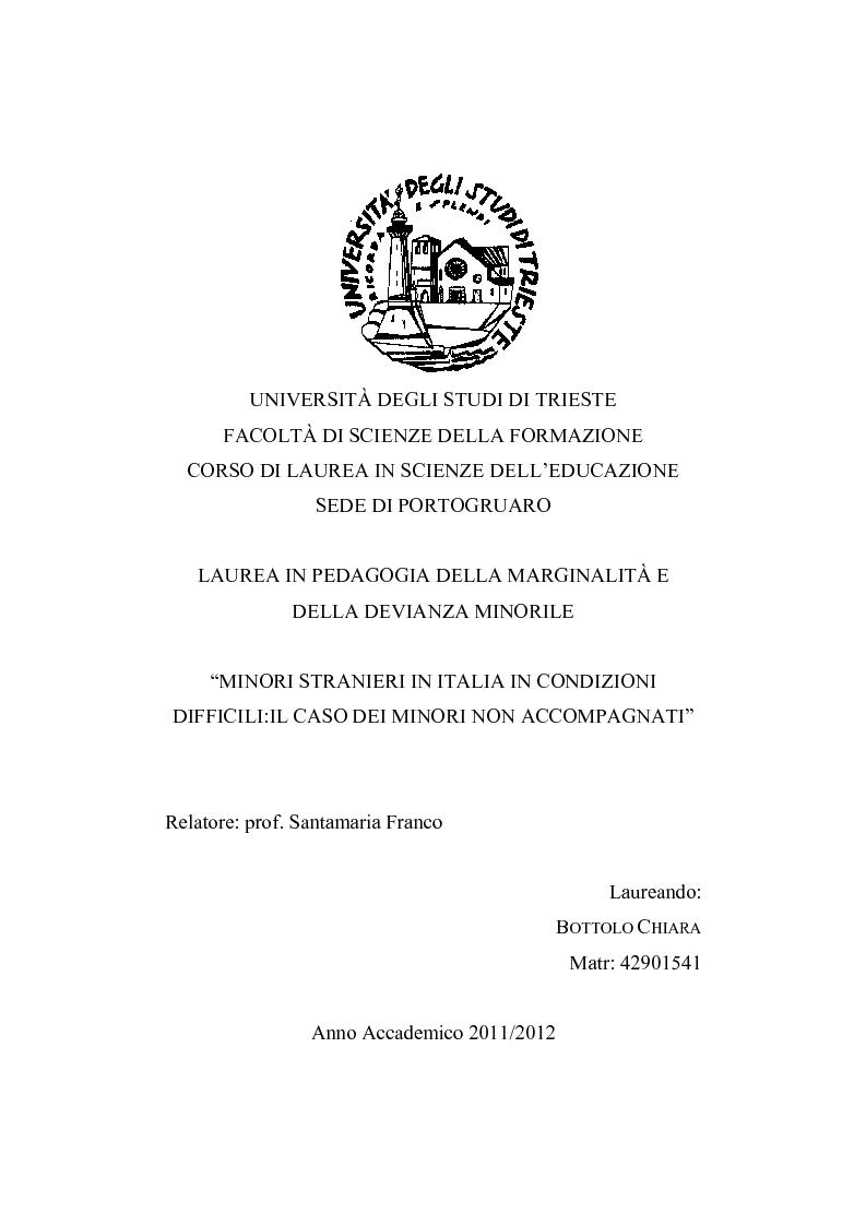Anteprima della tesi: Minori stranieri in Italia in condizioni difficili: il caso dei minori non accompagnati, Pagina 1