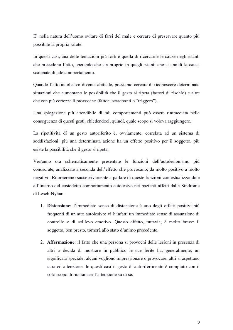 Anteprima della tesi: Il fenomeno dell'autolesionismo nella Sindrome di Lesch-Nyhan , Pagina 8
