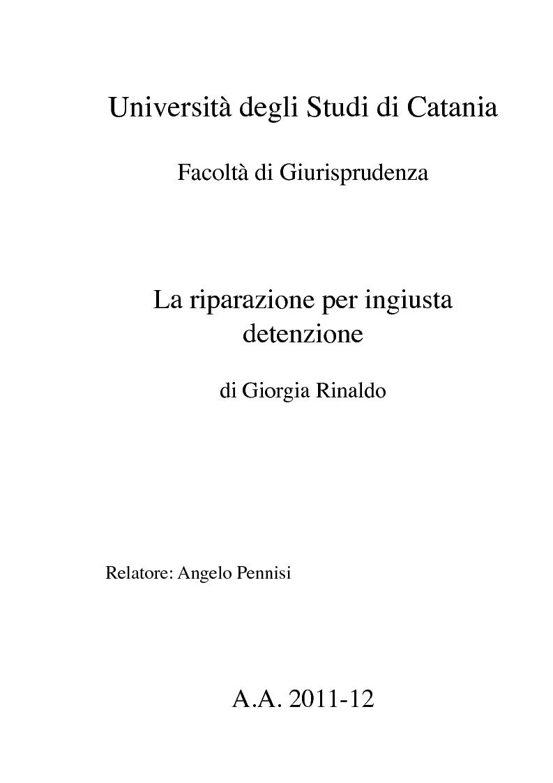 Anteprima della tesi: La riparazione per ingiusta detenzione, Pagina 1