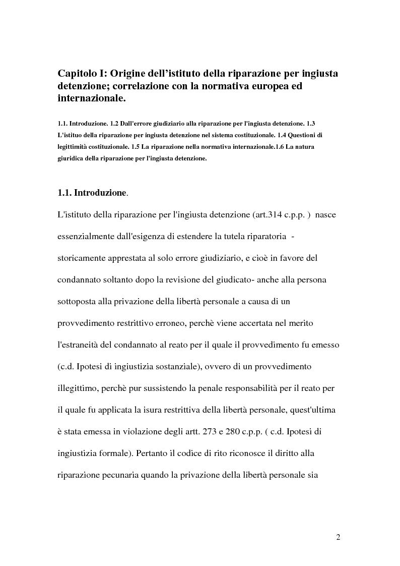 Anteprima della tesi: La riparazione per ingiusta detenzione, Pagina 2