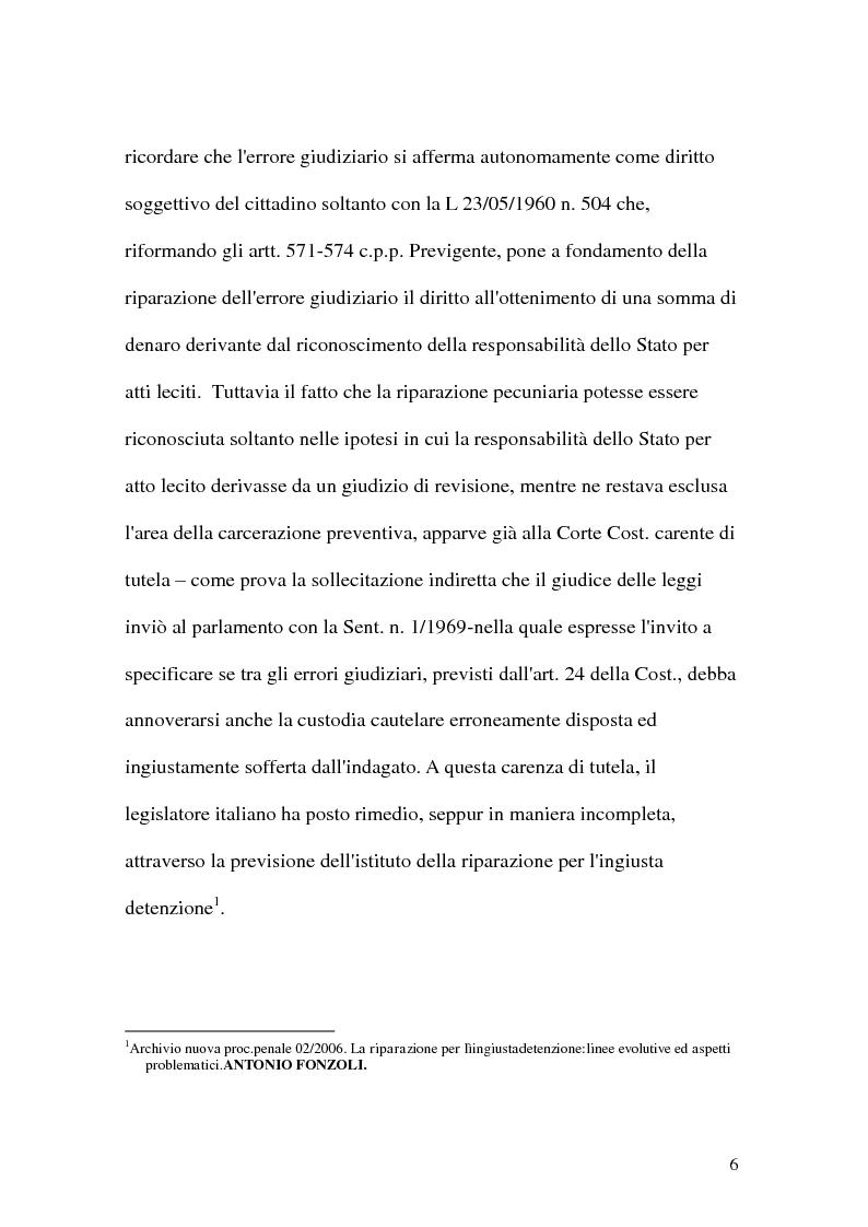 Anteprima della tesi: La riparazione per ingiusta detenzione, Pagina 6