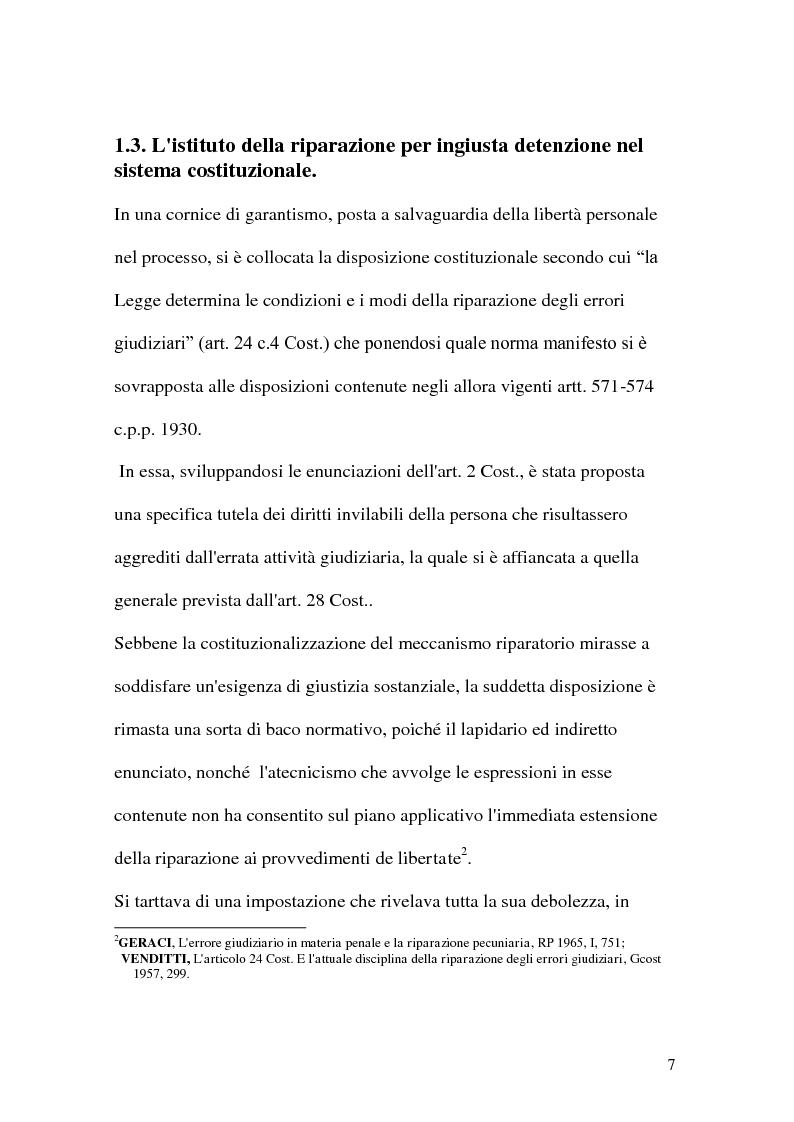 Anteprima della tesi: La riparazione per ingiusta detenzione, Pagina 7