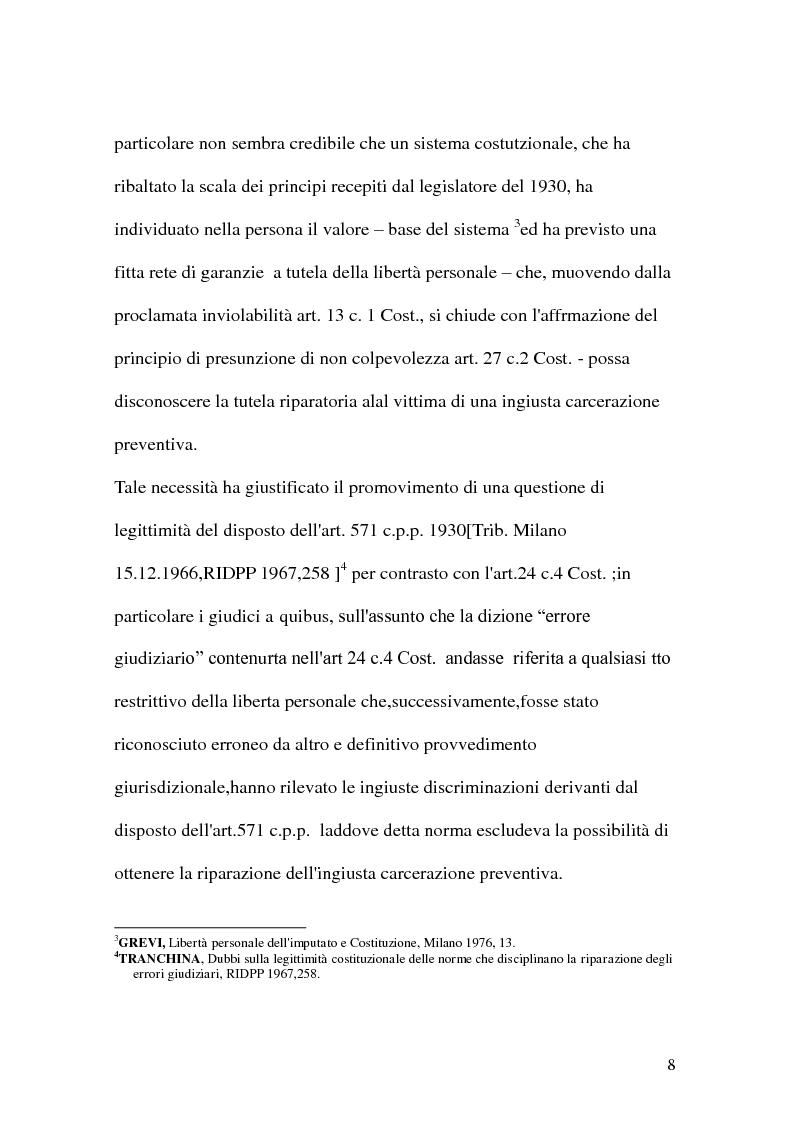 Anteprima della tesi: La riparazione per ingiusta detenzione, Pagina 8