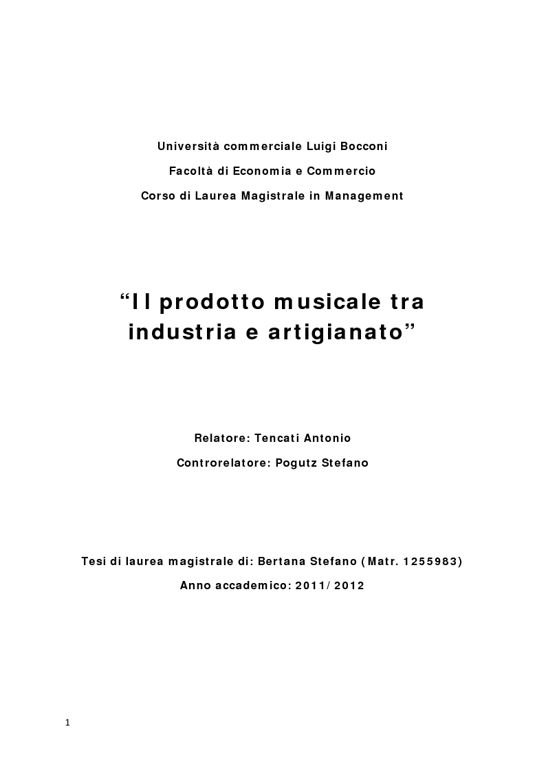 Anteprima della tesi: Il prodotto musicale tra industria e artigianato, Pagina 1