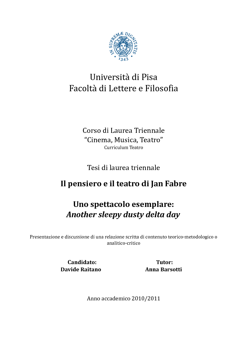 Anteprima della tesi: Il pensiero e il teatro di Jan Fabre, Pagina 1