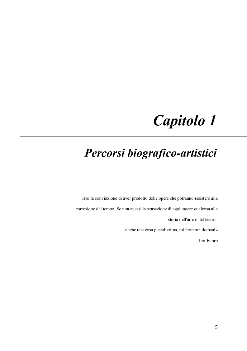 Anteprima della tesi: Il pensiero e il teatro di Jan Fabre, Pagina 2