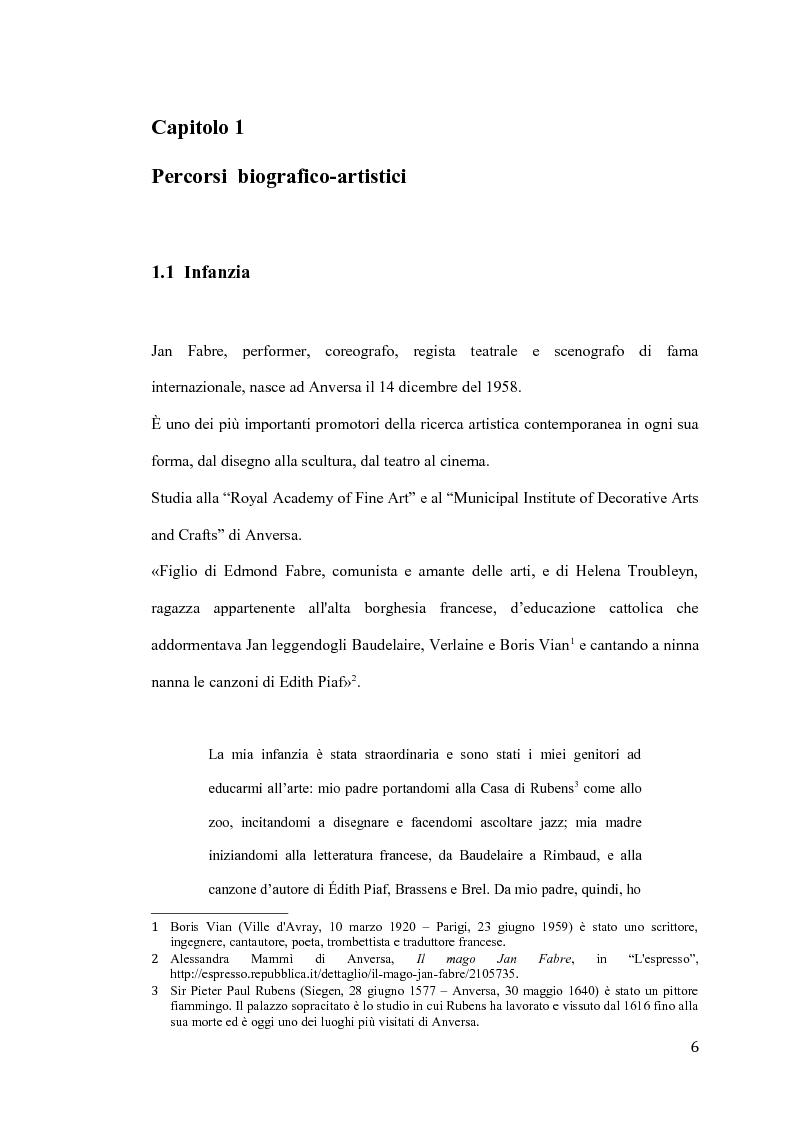 Anteprima della tesi: Il pensiero e il teatro di Jan Fabre, Pagina 3