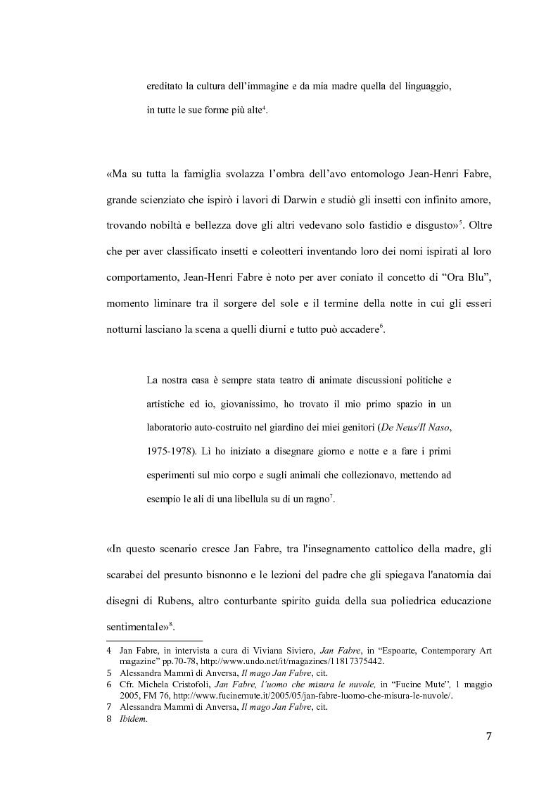 Anteprima della tesi: Il pensiero e il teatro di Jan Fabre, Pagina 4