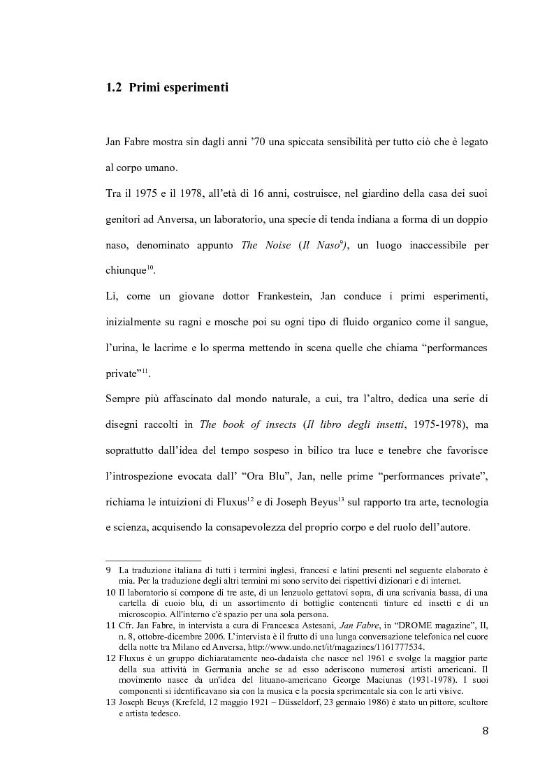 Anteprima della tesi: Il pensiero e il teatro di Jan Fabre, Pagina 5
