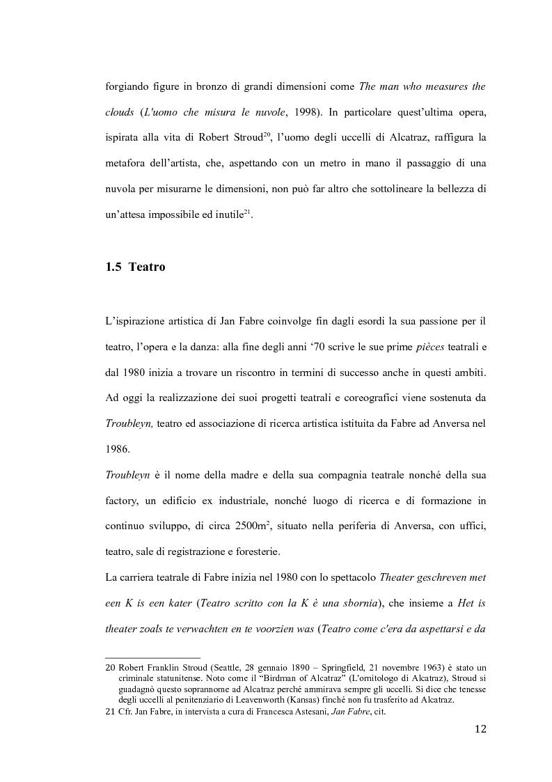 Anteprima della tesi: Il pensiero e il teatro di Jan Fabre, Pagina 9