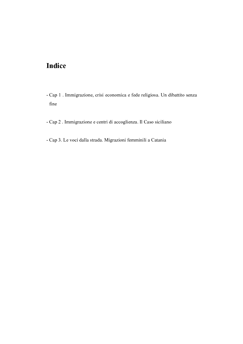 Indice della tesi: Migrazioni femminili in Sicilia, l'importanza delle tradizioni nell'integrazione interculturale, Pagina 1