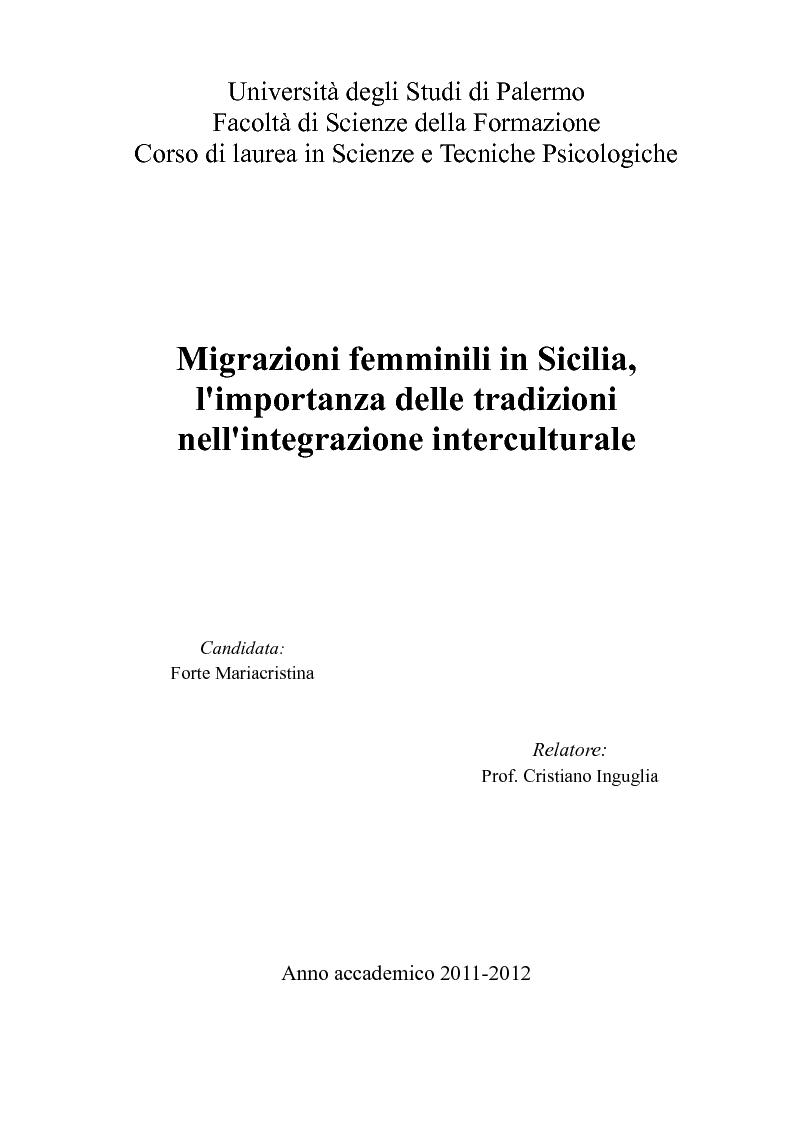 Anteprima della tesi: Migrazioni femminili in Sicilia, l'importanza delle tradizioni nell'integrazione interculturale, Pagina 1