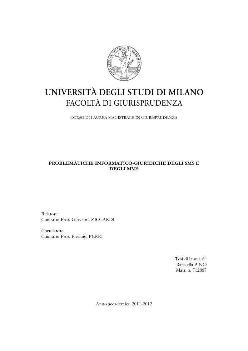 Anteprima della tesi: Problematiche informatico-giuridiche degli SMS e degli MMS, Pagina 1