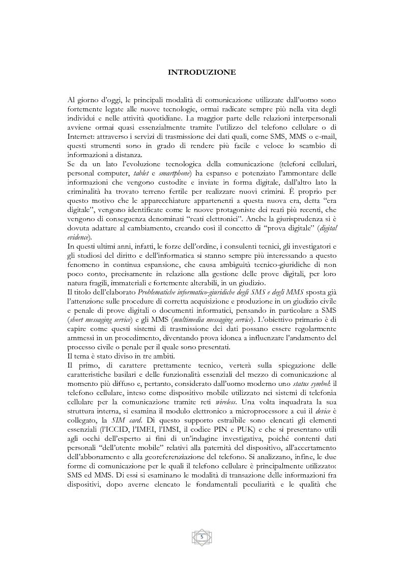 Anteprima della tesi: Problematiche informatico-giuridiche degli SMS e degli MMS, Pagina 2