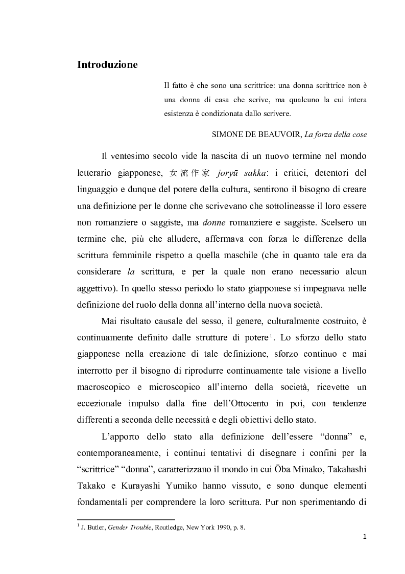 Anteprima della tesi: Corpo di donna, voci di donna. Strategie di emancipazione nella letteratura femminile giapponese moderna, Pagina 2