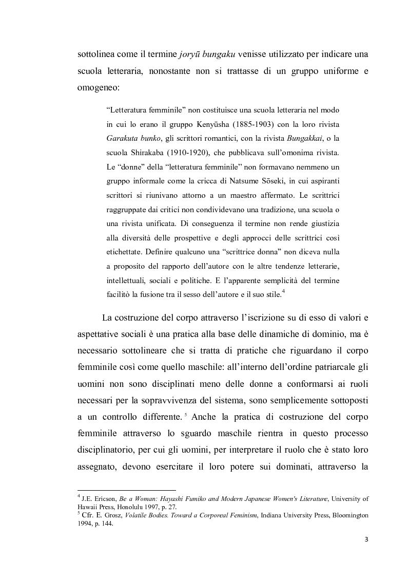 Anteprima della tesi: Corpo di donna, voci di donna. Strategie di emancipazione nella letteratura femminile giapponese moderna, Pagina 4