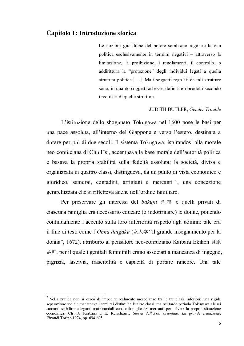 Anteprima della tesi: Corpo di donna, voci di donna. Strategie di emancipazione nella letteratura femminile giapponese moderna, Pagina 7
