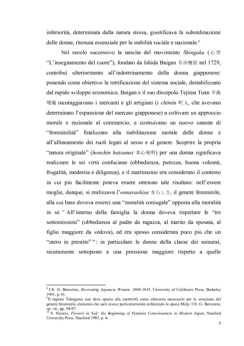 Anteprima della tesi: Corpo di donna, voci di donna. Strategie di emancipazione nella letteratura femminile giapponese moderna, Pagina 8