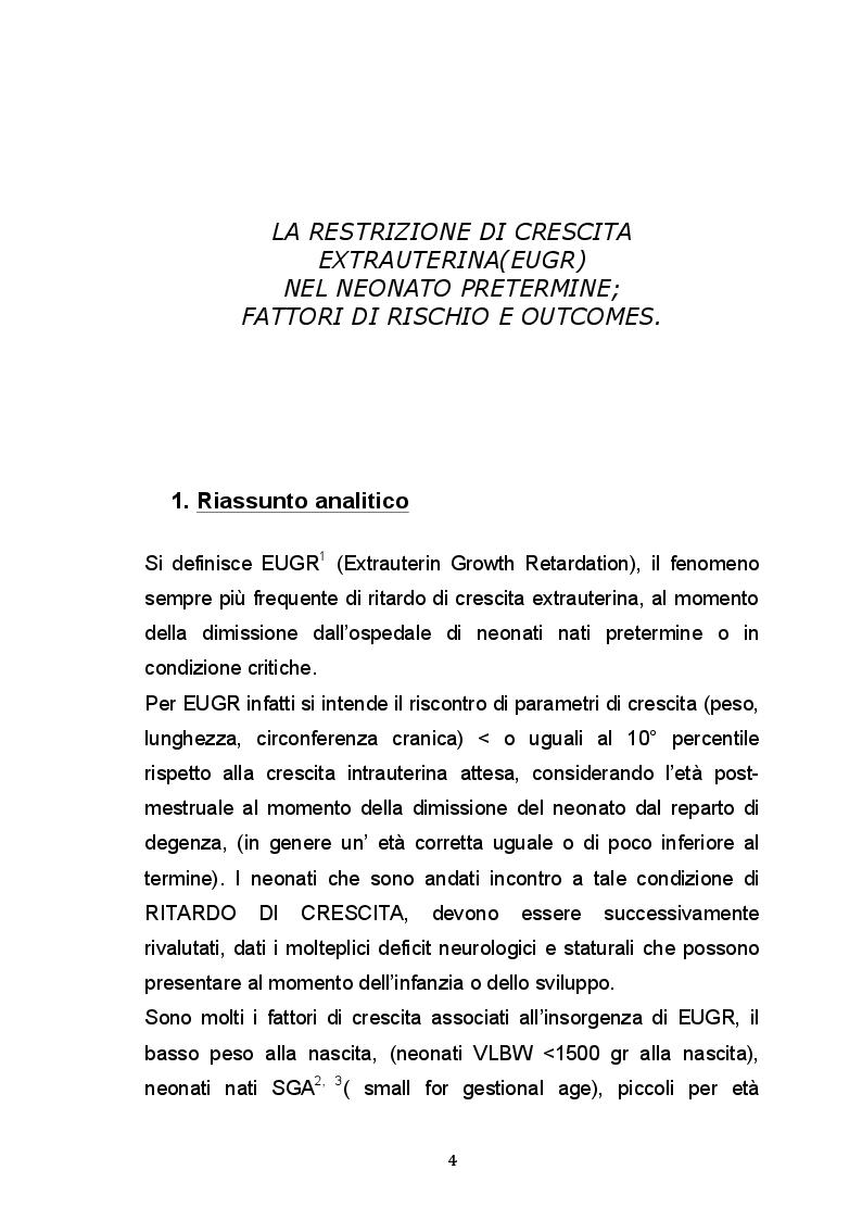 Anteprima della tesi: Ritardo di crescita  Extrauterina (EUGR) nel neonato pretermine; fattori di rischio e outcomes., Pagina 2