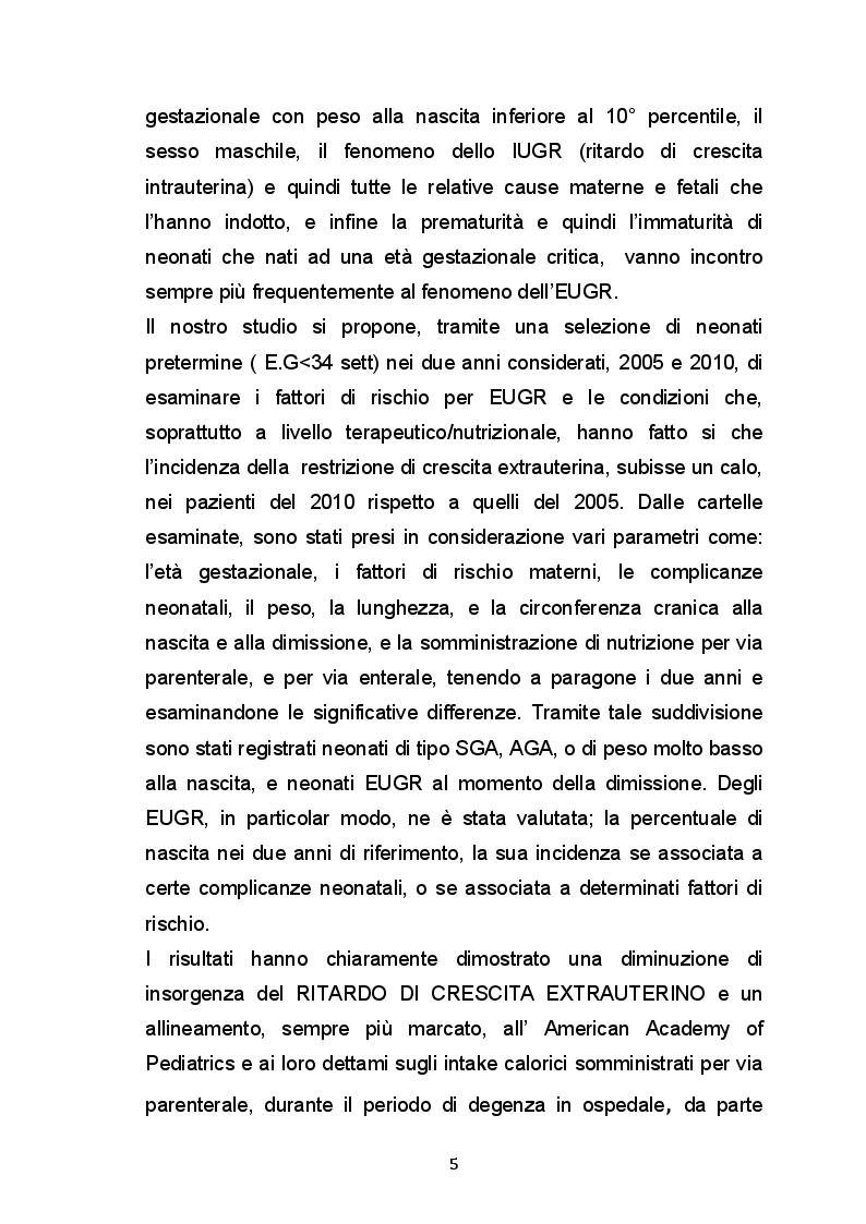 Anteprima della tesi: Ritardo di crescita  Extrauterina (EUGR) nel neonato pretermine; fattori di rischio e outcomes., Pagina 3
