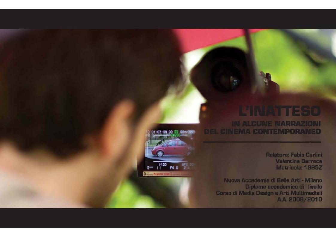 Anteprima della tesi: L'inatteso in alcune narrazioni del cinema contemporaneo, Pagina 1