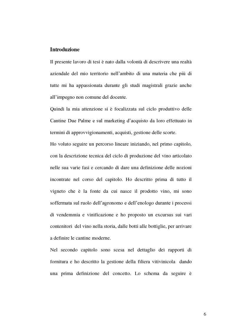 Anteprima della tesi: La gestione della produzione vinicola. Il caso Cantine Due Palme, Pagina 2