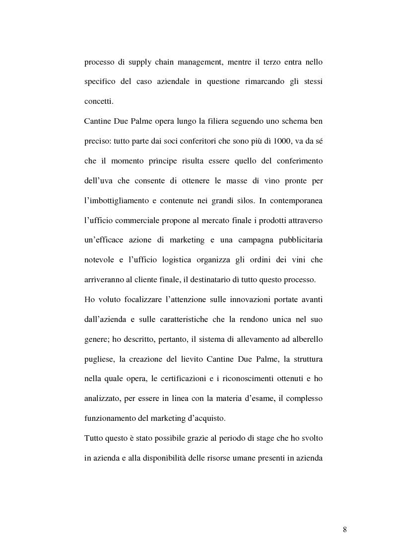 Anteprima della tesi: La gestione della produzione vinicola. Il caso Cantine Due Palme, Pagina 4