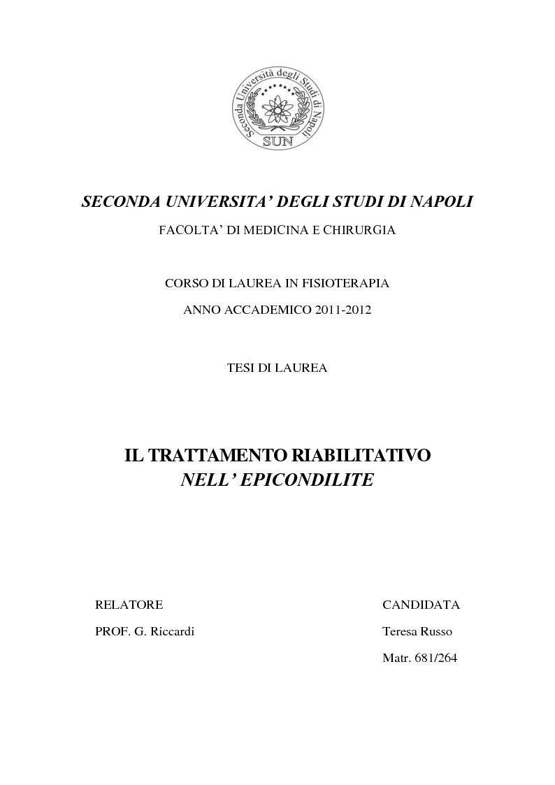 Anteprima della tesi: Il trattamento riabilitativo dell'epicondilite, Pagina 1