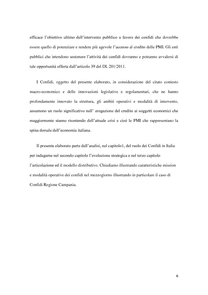 Anteprima della tesi: Ambito operativo, evoluzione strategica e modello distributivo dei confidi, Pagina 5