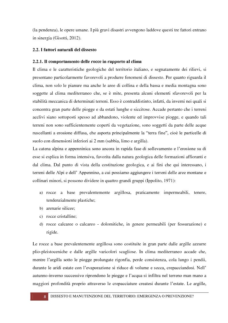 Anteprima della tesi: Dissesto e manutenzione del territorio: emergenza o prevenzione?, Pagina 4