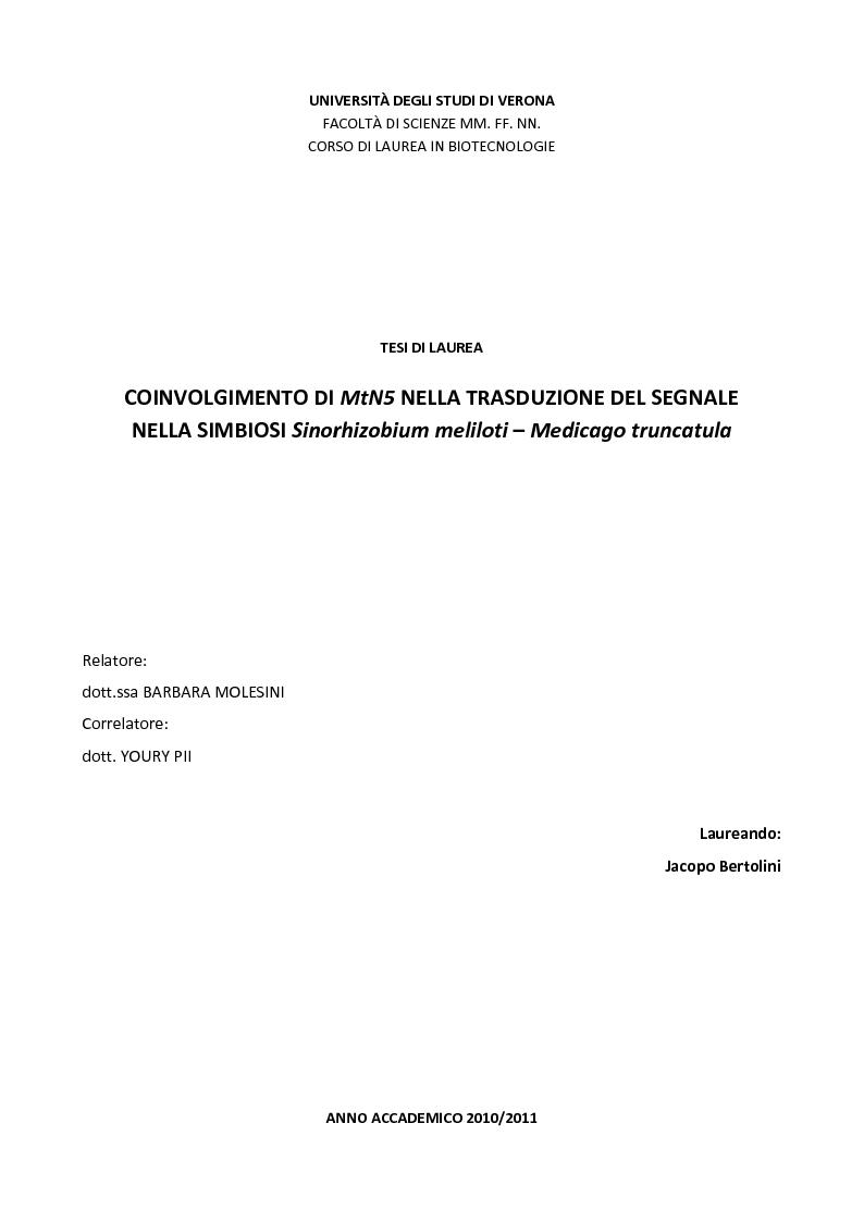 Anteprima della tesi: Coinvolgimento di MtN5 nella Trasduzione del Segnale nella Simbiosi Sinorhizobium meliloti – Medicago truncatula, Pagina 1