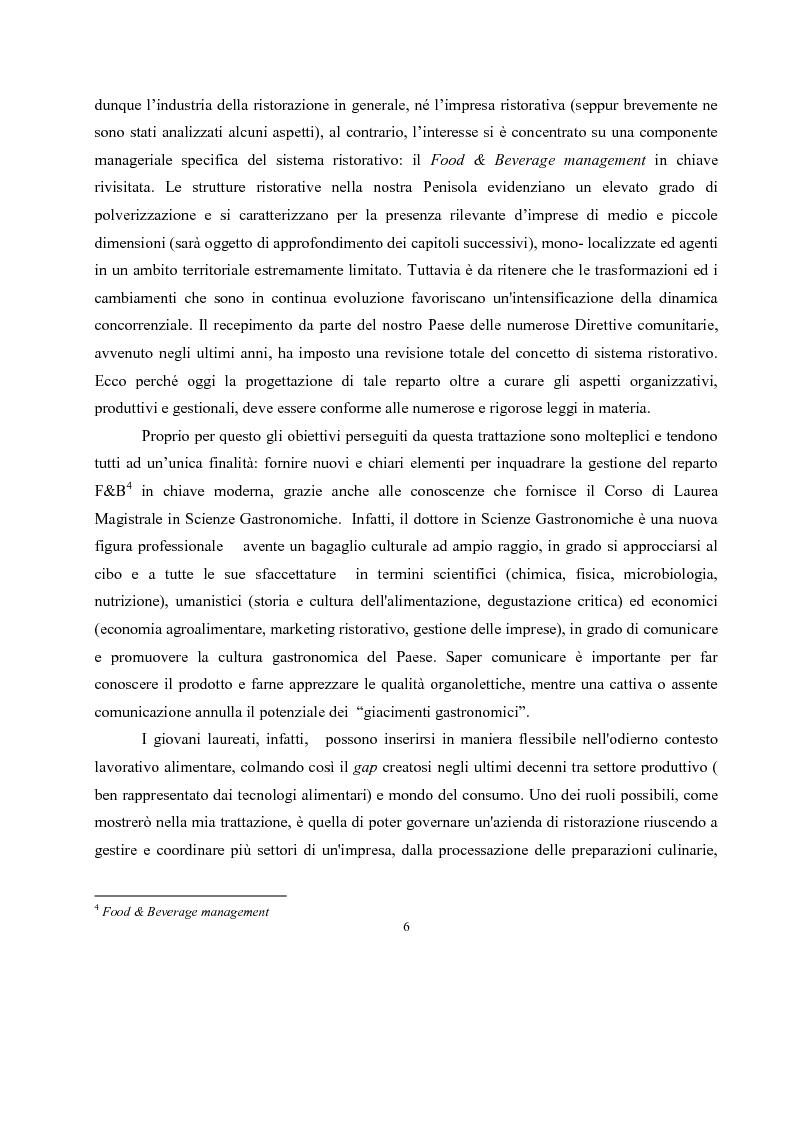 Anteprima della tesi: IL governo di un'impresa di ristorazione: il ruolo del Gastronomo nell'azienda ''Ombre Rosse'', Pagina 3