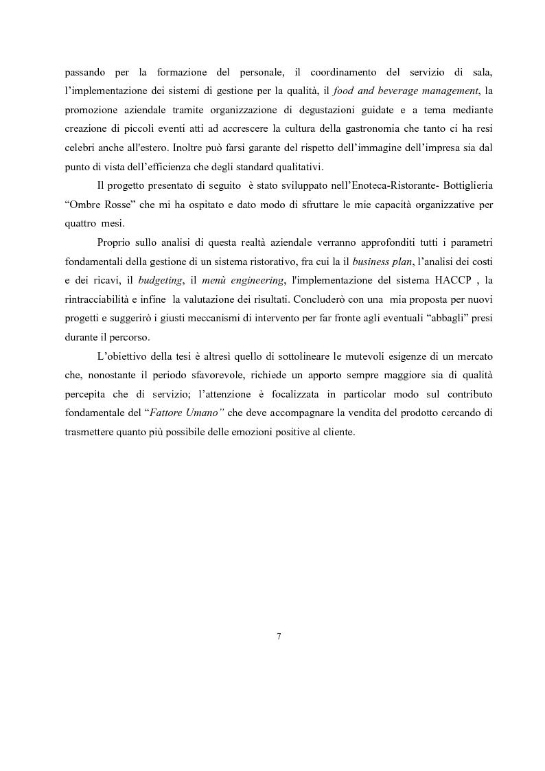 Anteprima della tesi: IL governo di un'impresa di ristorazione: il ruolo del Gastronomo nell'azienda ''Ombre Rosse'', Pagina 4