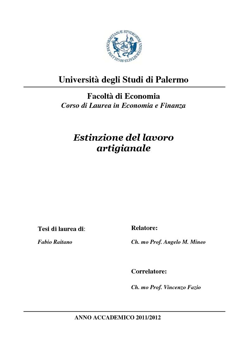 Anteprima della tesi: Estinzione del lavoro artigianale, Pagina 1