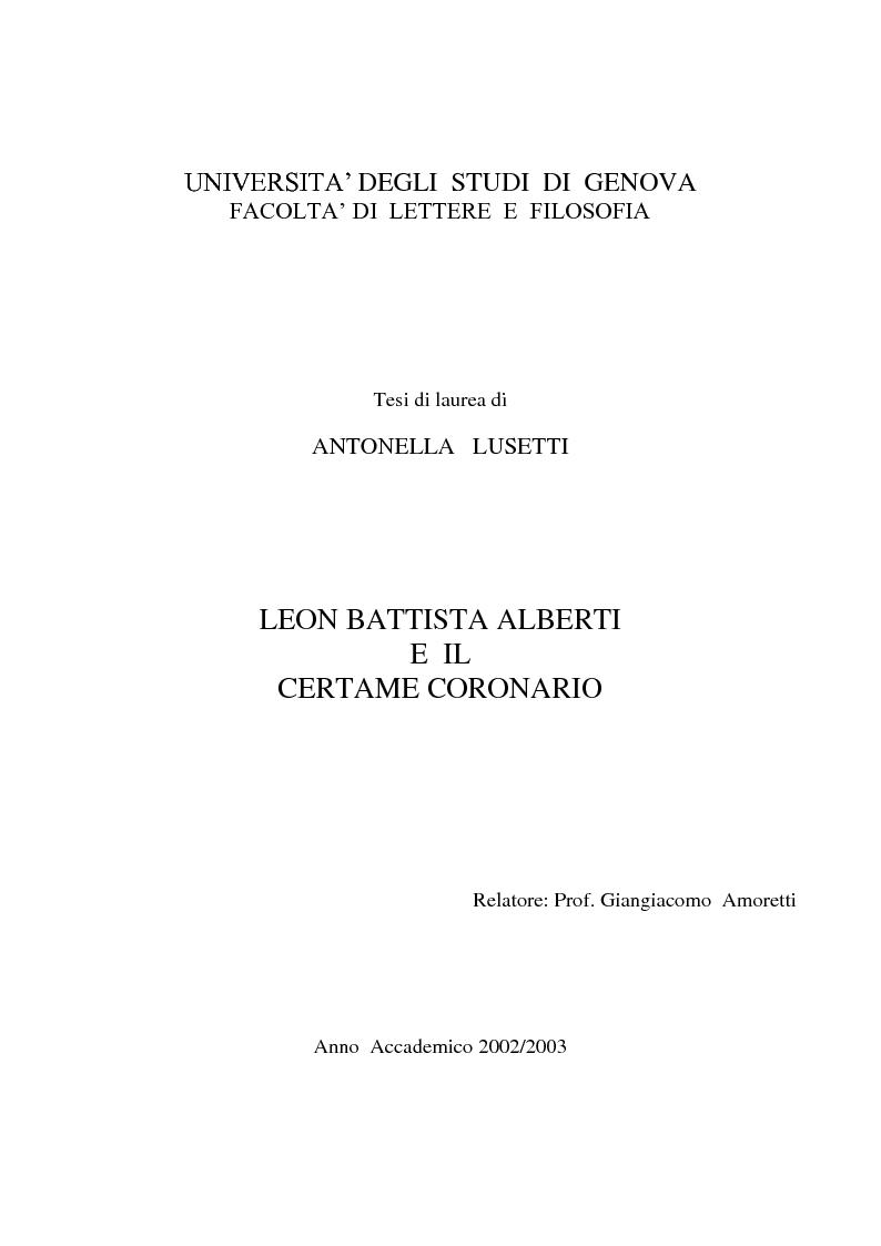 Anteprima della tesi: Leon Battista Alberti e il certame coronario, Pagina 1