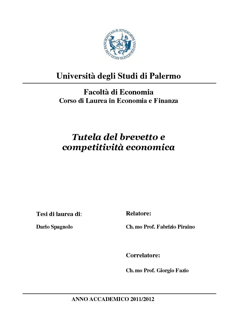 Anteprima della tesi: Tutela del brevetto e competitività economica, Pagina 1