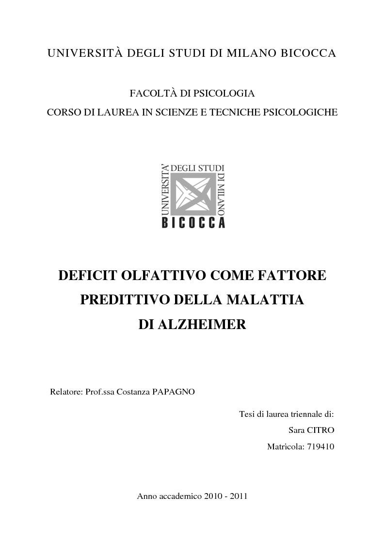 Anteprima della tesi: Deficit olfattivo come fattore predittivo della malattia di Alzheimer, Pagina 1
